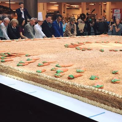 World record carrot cake shared with non-profit community at Guildford Town Centre